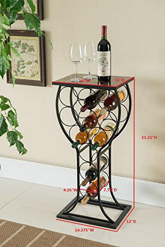 Kings Brand Furniture Metal With Marble Finish Top Wine