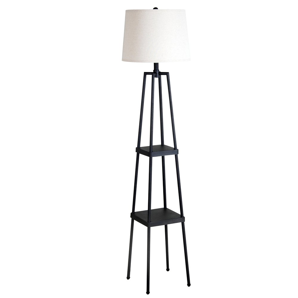 """Catalina Lighting 19305-000 Transitional Etagere Floor Lamp with Shelves, Ivory Beige Linen Shade and 3-Way Switch, 58"""", Distressed Iron Metal, Black"""