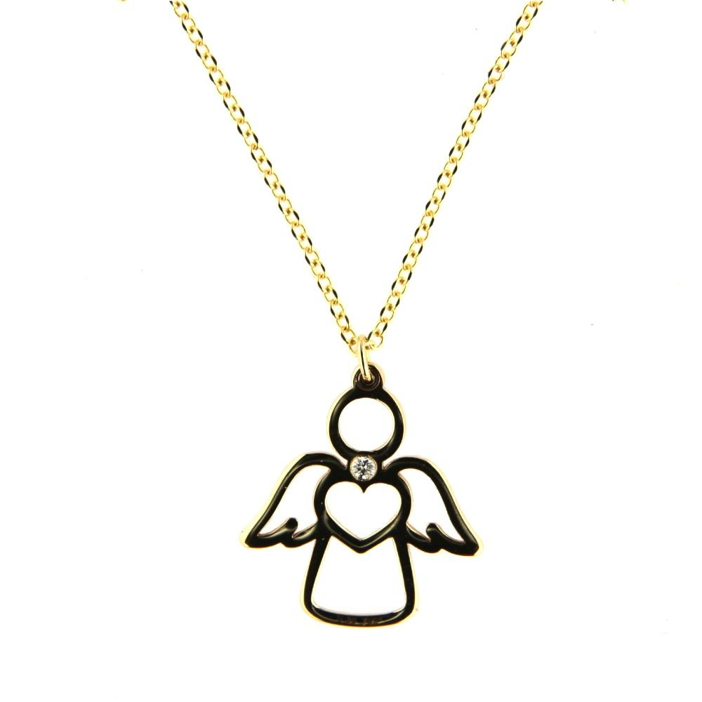18K Yellow Gold Diamond Open Guardian Angel Necklace 16.5 inches with extra ring at 15 inches. Total Diamond weight 0.006