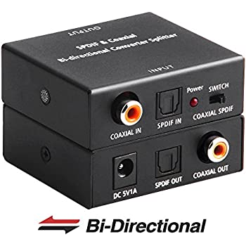 ROOFULL Optical to Coaxial and Coax to Optical Digital Audio Converter, Bi-Directional Digital SPDIF Toslink Optical to/from Coaxial Digital Audio Signal ...