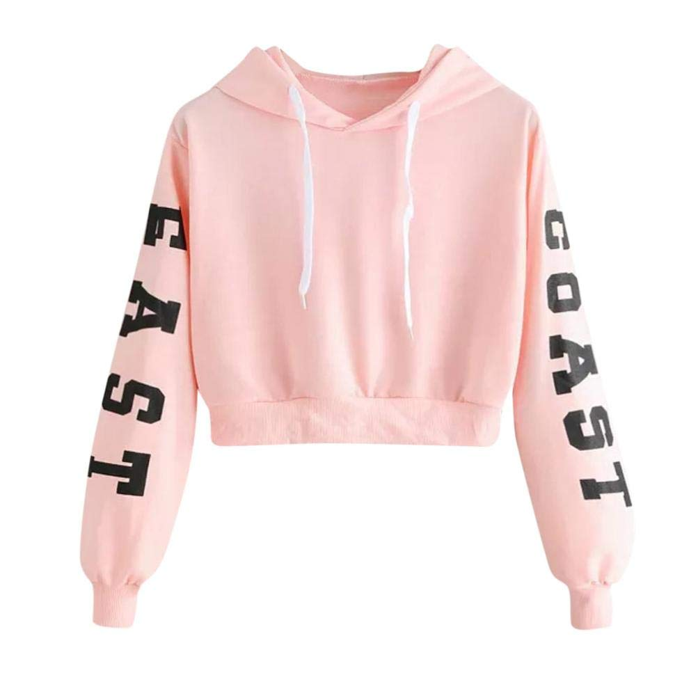 Realdo Womens Solid Letters Long Sleeve Hoodie Sweatshirt Pullover Tops Blouse