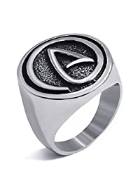 Elfasio Mens Womens Stainless Steel Rings Atheist Atheism Jewelry Size 8-14