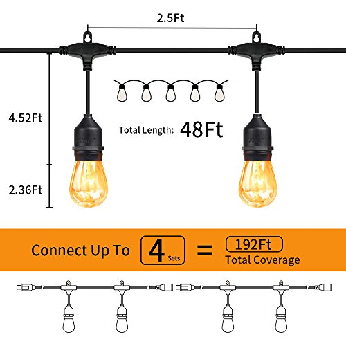 MZD8391 [Heavy Duty 48FT Commercial Grade Waterproof Outdoor Globe String Light, 18 Hanging Socket, 21 Dimmable Edison Vintage Bulb, for Backyard Patio, Garden (Warm White 48FT) by MZD8391 (Image #4)