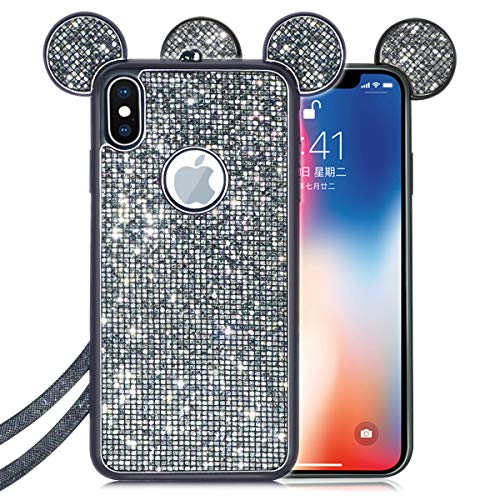 (Omio for iPhone Xs Max Case Cartoon Cute Mouse Ears Glitter Diamond Cover with Neck Lanyard Crystal Rhinestone Bling Sequin Soft TPU Silicone Gel Square Lattice Electro Plating Case for)