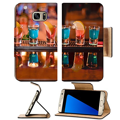 Luxlady Premium Samsung Galaxy S7 EDGE Flip Pu Leather Wallet Case IMAGE ID 7989476 Row of shots on the bar tequila and blue curacao