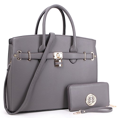 Women's Fashion Packlock Handbags Signature Designer Purse Designer Satchel handbag for Women(03-1006-W-GY) ()