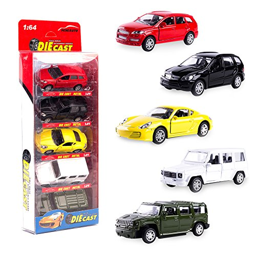 KIDAMI Die Cast Metal Toy Cars Set of 5, Openable Doors Pull Back Car Gift Pack for Kids (Private car) (Model Car Open Door)