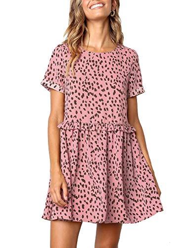 (LANREMON Womens Dresses Summer Polka Dot Ruffles Hem Swing Casual Party Loose Fit Short Sleeves A-Line Mini Dress Pink S)