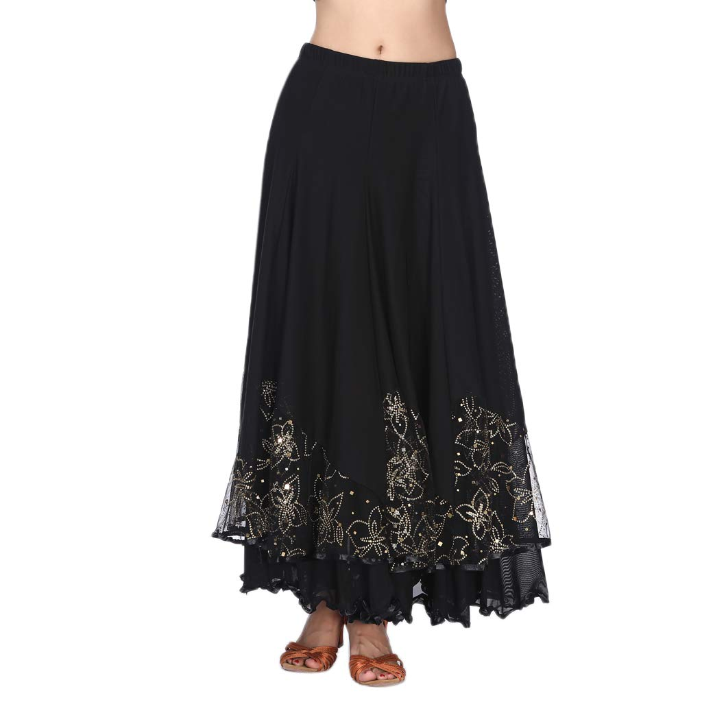 P Prettyia Women/'s Flamenco Ballroom Dance Skirt Full Circle Swing Skirt Costume