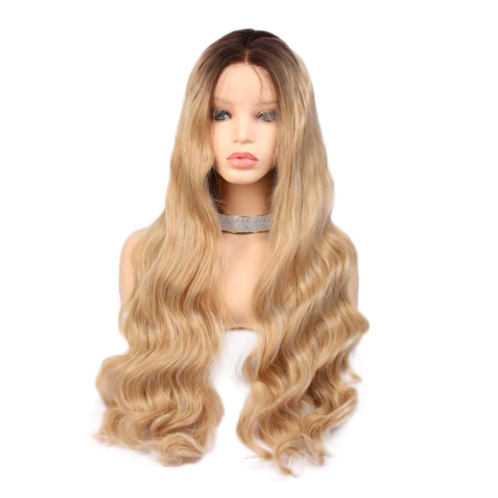 LIEJIE Gold Lace Front Wigs Synthetic, Women's Fashion Front lace Wig Purple Synthetic Hair Long Wigs Wave Curly Wig for Cosplay,Party&Daily Use Costume Wig 26inch by LIEJIE
