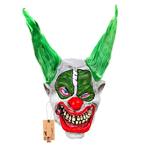 Twisty The Clown Girl Costume (Evil Scary Demented Psycho Clown Latex Mask With Green Hair Costume (big boss))