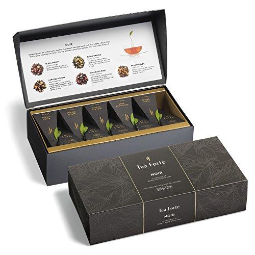 Tea Forté NOIR Petite Presentation Box with 10 Handcrafted Pyramid Tea Infusers - Bold Black Teas (Petite Cup Rose)