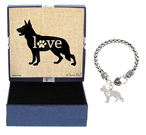 Mother's Day Gifts German Shepherd Bracelet Gift Love Dog Breed Silhouette Charm Bracelet Silver-Tone Bracelet Gift for German Shepherd Owner Jewelry Box
