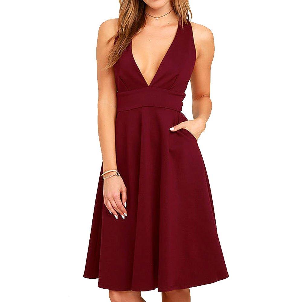 Summer Women's A-Line Sleeveless Deep V-Neck MIDI Dress (M, Burgandy)