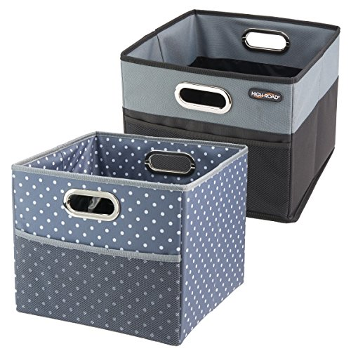 (High Road CargoCube Trunk and Car Organizer Bins with Leakproof Lining - Set of 2 (1 Black/1 Polka Dot))