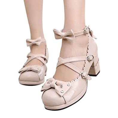 eea412335be Sweet Lolita Cosplay Chunky High Heel Pumps Rhinestone Bow Princess Party  Shoes Beige