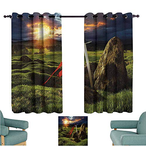 Grommet Curtains King Arthur Camelot Mythology Darkening Thermal Insulated Blackout W55x63L