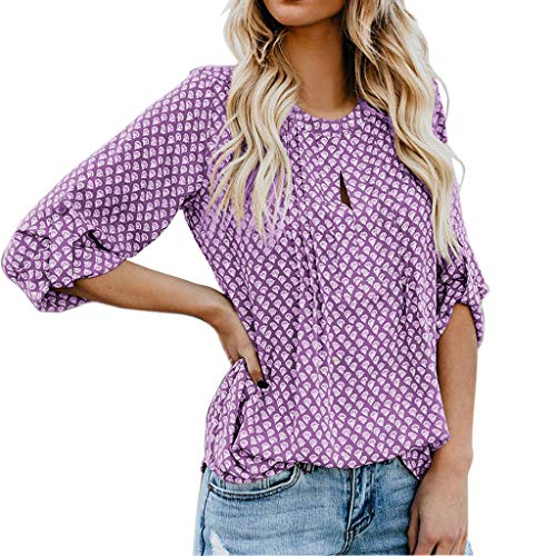 VLDO Women's Button Down V Neck Strappy Tank Tops Loose Casual Sleeveless Shirts Blouses Purple