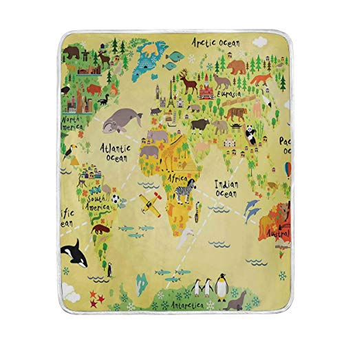 CHASOEA Throw Blanket,Educational World Map Africa America Penguins Atlantic Pacific Animals Australia,Microfiber All Season Bed Couch,60