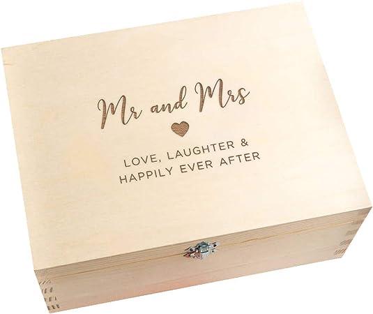 Caja de recuerdos de boda/caja de recuerdos de madera grabada/regalo de aniversario de boda para marido y esposa, parejas/«Mr and Mrs», regalo de boda para novia y novio: Amazon.es: Hogar