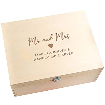 Wedding Keepsake Box Wooden Engraved Memory Box For Husband And Wife Engagement Presents For Couples Mr And Mrs Wedding Gift For Bride And Groom