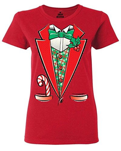 [Tuxedo Christmas Costume Women's T-Shirt #12258 Funny Xmas Shirts Large Red] (Womens Tuxedo Costumes Tshirt)