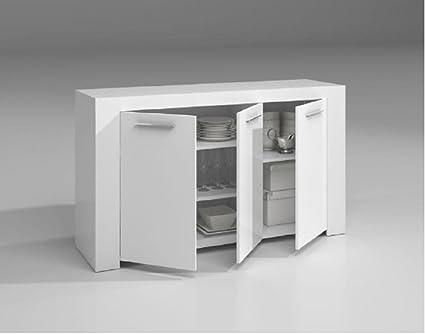 Kit Mobile Credenza 3a Ambit Cm 144x42x80h Bianca Amazon It Casa E Cucina
