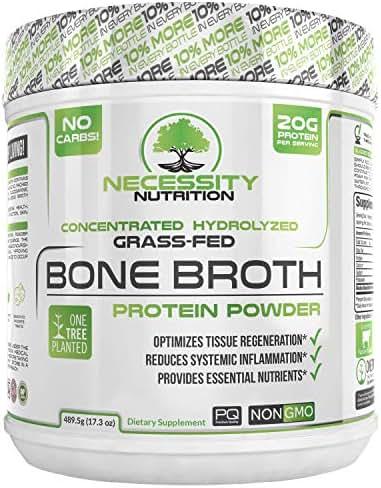 Bone Broth Protein Powder - Natural & Pure Paleo/Keto Friendly Gluten Free - Grass Fed Pasture Raised Non GMO - Premium Gut Health