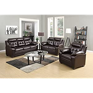 Container Furniture Direct Chateau Modern Three (3) Piece Living Room Set, Dark Brown