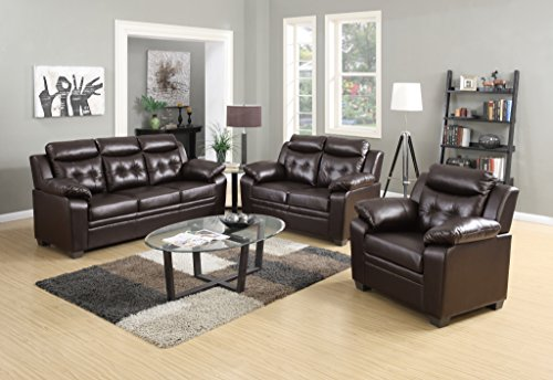 Container Furniture Direct Chateau Modern Three (3)Piece Living Room Set, Dark Brown