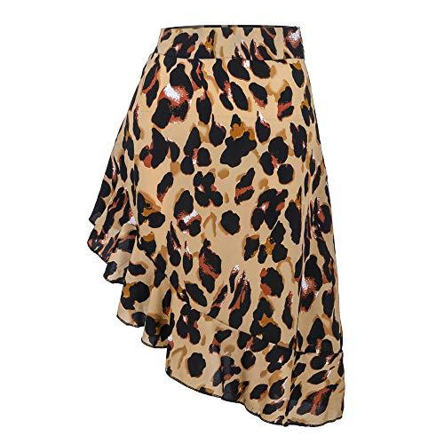 Women Sexy Leopard Print Ruffle Split Zipper Evening Party Wrap Skirt (S, Brown)