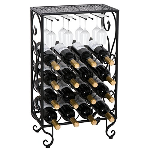 (Smartxchoices 16 Bottles Wine Rack Table with Glass Holder, Free Standing Cellar Wine Storage Rack, Liquor Display Shelves)