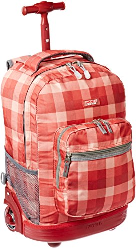 J World New York Sunrise Rolling Backpack, Check Red, One Size