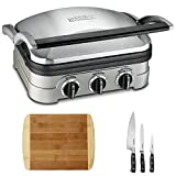Cuisinart GR-4N Multifunctional Griddle, Grill and Panini Press with Triple Rivet Collection 3-Piece Knife Set and Two Tone Bamboo Cutting Board