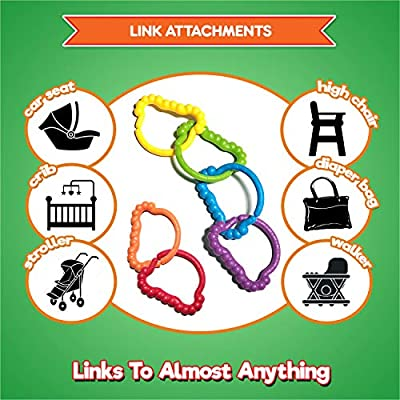 Baby Rings & Baby Links Toddler Toys - Rainbow Linking Baby Accessories For 1 2 3 Year Old - Infant Toys, Baby Toys and Tinker Toys To Attach To Stroller, Baby Car Seat, Cribs, Diaper Bags - 6pc Set : Baby