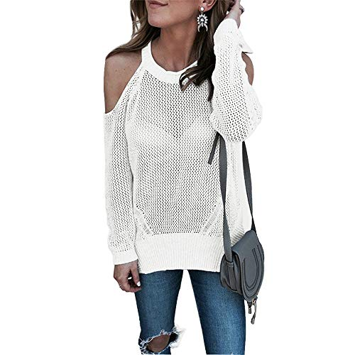 Vider Blanc Pull Tricot DContract Manches Col Chemise Rond Femme DCollet Lolittas Longues HFqYOO