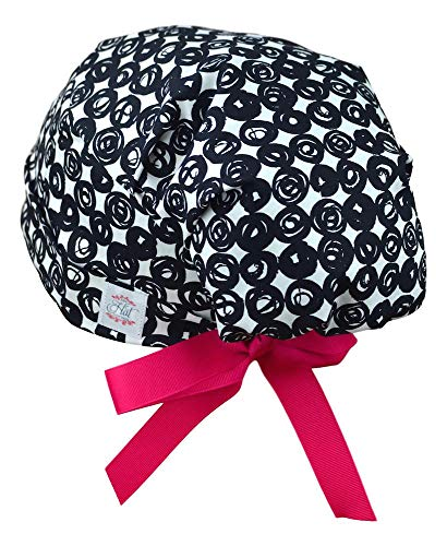 Scrub Hats for Women - Medium to Large with Ribbon Ties - Swirl Dots