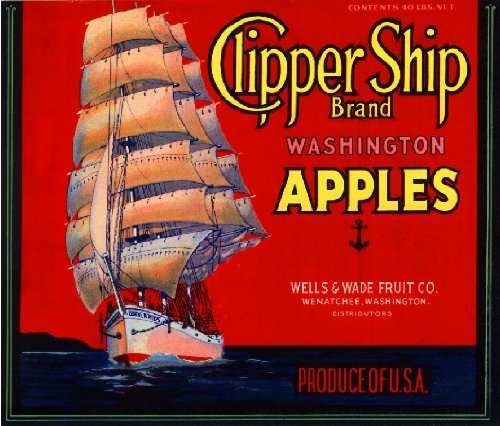 A SLICE IN TIME Wenatchee Washington State Clipper Ship Red Apple Fruit Crate Label Art Print