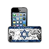 Luxlady Premium Apple iPhone 5 iphone 5S Aluminium Snap Case The Israeli flag painted on grunge wall IMAGE ID 27544656