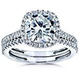 Cushion Brilliant Moissanite and Diamond Halo Bridal Wedding Rings Set 2 3/8 CTW 14k White Gold (FG/VS, GH/I), 5.5
