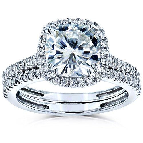 Cushion Brilliant Moissanite and Diamond Halo Bridal Wedding Rings Set 2 3/8 CTW 14k White Gold (FG/VS, GH/I), 5.5 by Kobelli (Image #4)