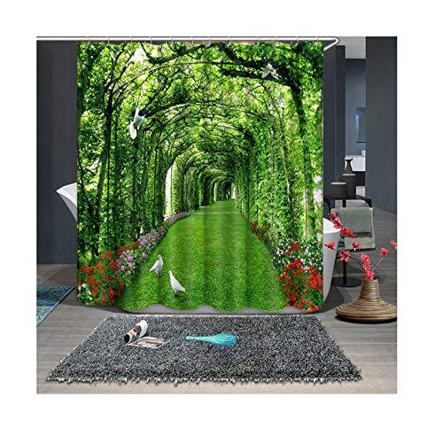 Beydodo Cortina de Baño Vintage 3D Cortina de Ducha Antimoho Cortina de Ducha Multicolor Longitud de la Cortina de Ducha 150...