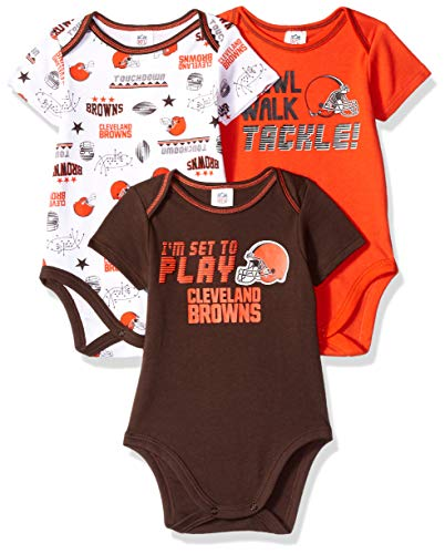 - NFL Cleveland Browns Unisex-Baby 3-Pack Short Sleeve Bodysuits, Brown, 0-3 Months