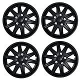 TuningPros WSC3-027B14 4pcs Set Snap-On Type (Pop-On) 14-Inches Matte Black Hubcaps Wheel Cover
