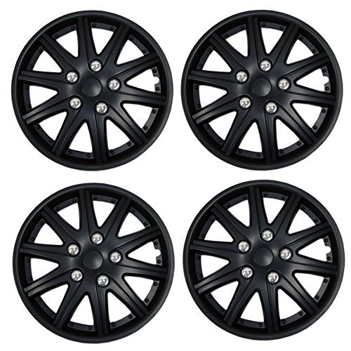 (Tuningpros WC3-15-1027-B - Pack of 4 Hubcaps - 15-Inches Style 1027 Snap-On (Pop-On) Type Matte Black Wheel Covers Hub-caps)