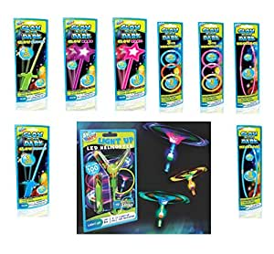 Set of 12 Glow in the Dark Party Favors Individually Wrapped - Wands, Swords, Bracelets, Necklaces and LED Slingshot Helicopters