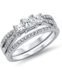 Princess Cut Cz Bridal Engagement Set .925 Sterling Silver Ring Sizes 4-12
