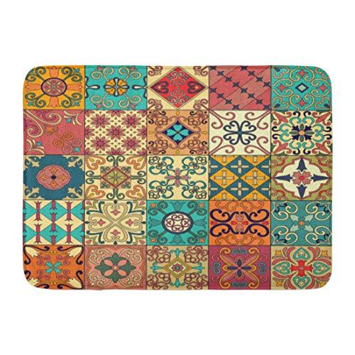 Emvency Doormats Bath Rugs Outdoor/Indoor Door Mat Colorful Pattern Portuguese Tiles in Talavera Azulejo Moroccan Mexican Ornaments Ceramic Bathroom Decor Rug Bath Mat 16