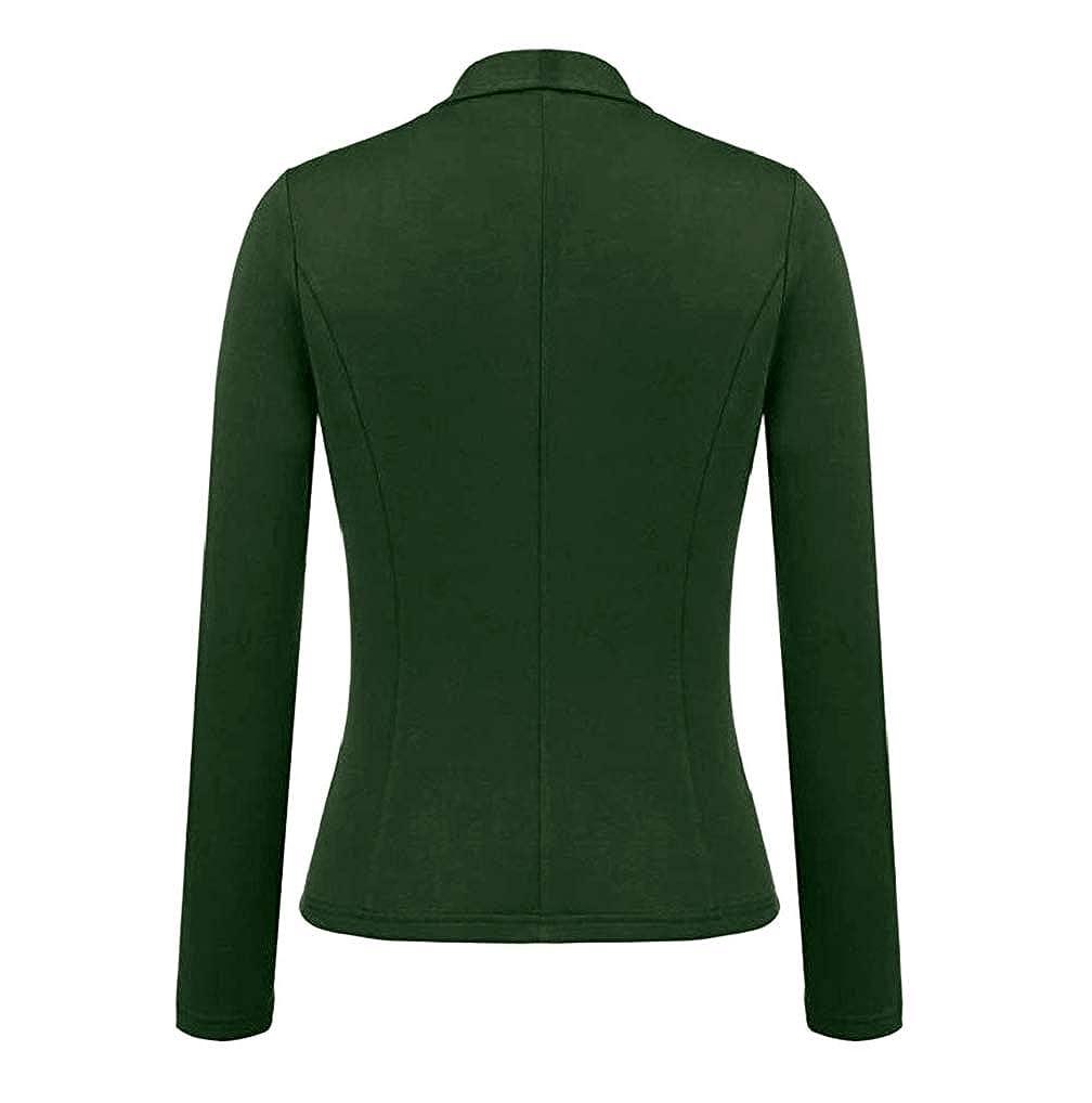 Womens Work Office OL Business Blazer Coat TUDUZ Ladies Slim Long Sleeve Turn-Down Classic Open Front Suit Jacket