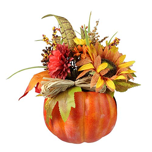 Northlight Autumn Harvest Artificial Pumpkin with Mixed Fall Leaves Mums and Pine Cones Decoration, 10